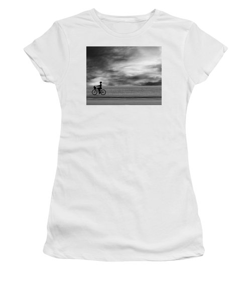 Women's T-Shirt (Athletic Fit) featuring the photograph Biking On Pch by John Rodrigues