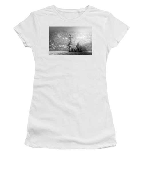 Women's T-Shirt (Athletic Fit) featuring the photograph Black And White Moody Morning Moosehead Lake by Dan Sproul
