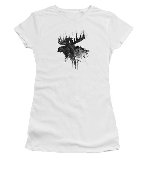 Black And White Moose Head Watercolor Silhouette  Women's T-Shirt
