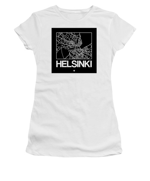Black Map Of Helsinki Women's T-Shirt