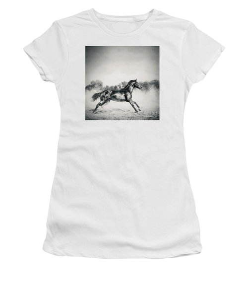 Women's T-Shirt (Athletic Fit) featuring the photograph Black Stallion Horse by Dimitar Hristov