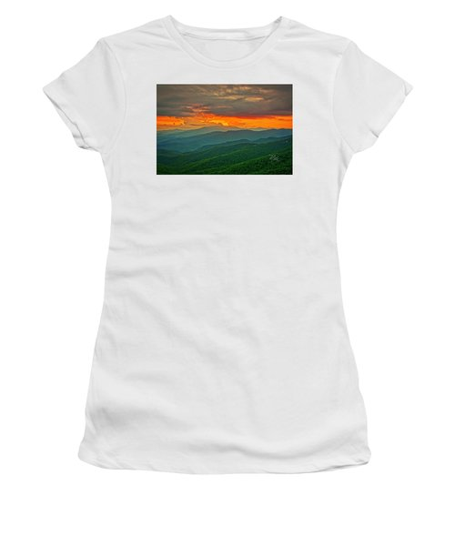 Women's T-Shirt (Athletic Fit) featuring the photograph Blowing Rock Sunset by Meta Gatschenberger