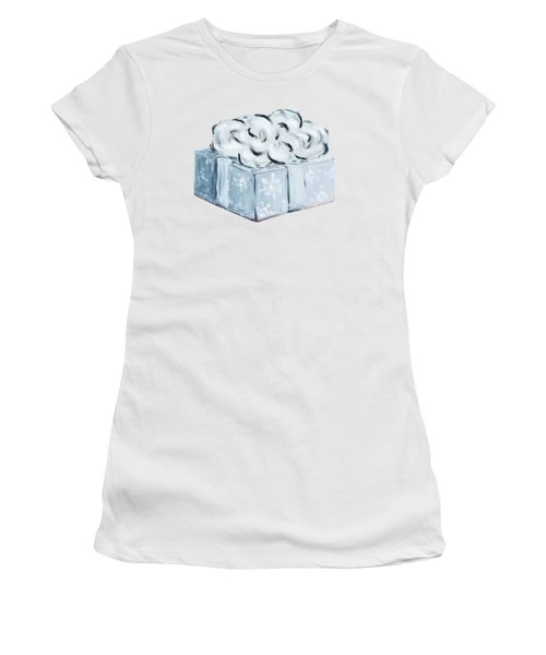 Women's T-Shirt featuring the painting Blue Present by Maria Langgle