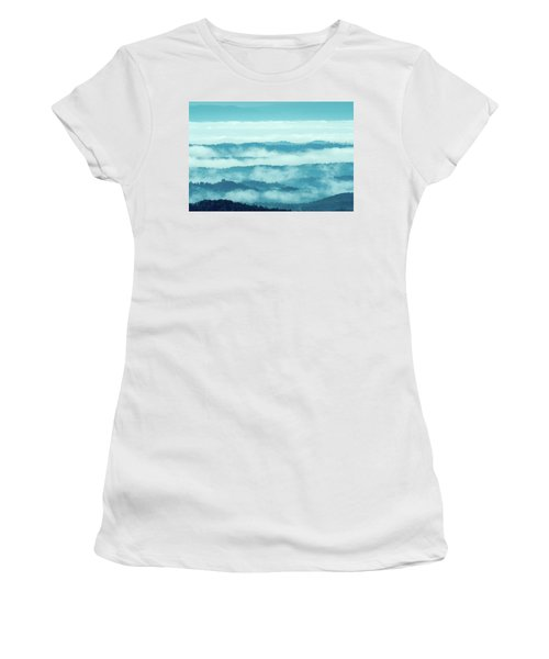 Blue Ridge Mountains Layers Upon Layers In Fog Women's T-Shirt