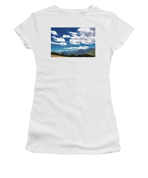 Women's T-Shirt (Athletic Fit) featuring the photograph Blue Skies And Mountains II by James L Bartlett
