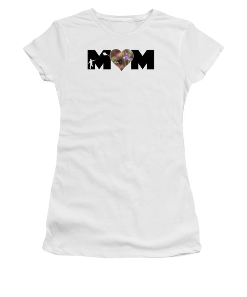 Boy Silhouette And Butterfly On Lavender In Heart Mom Big Letter Women's T-Shirt