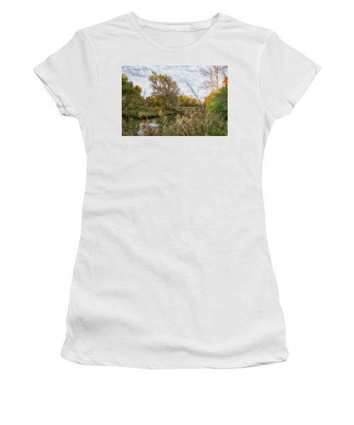 Women's T-Shirt (Athletic Fit) featuring the photograph Bridge Over Ellicott Creek by Guy Whiteley