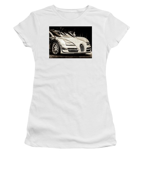 Women's T-Shirt featuring the photograph Bugatti Legend - Veyron Special Edition -0844scl2 by Jill Reger