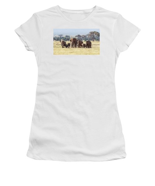 Bull Elephant With A Herd Of Females And Babies In Amboseli, Kenya Women's T-Shirt