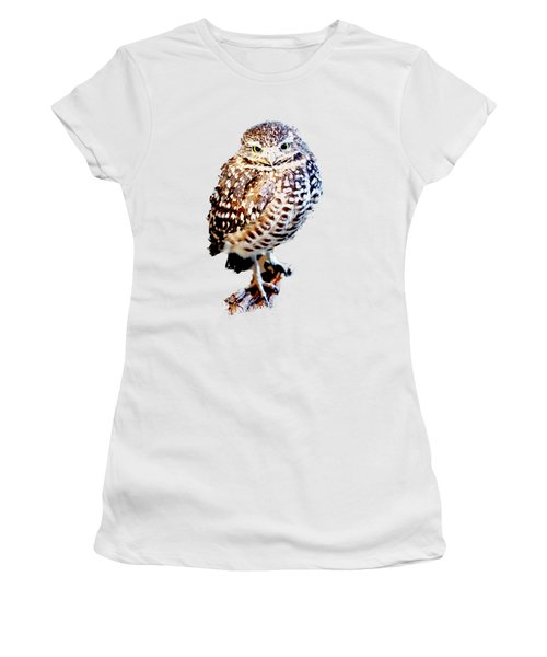 Women's T-Shirt featuring the photograph Burrowing Owl Canvas Print,photographic Print,art Print,framed Print,greeting Card,iphone Case, by David Millenheft