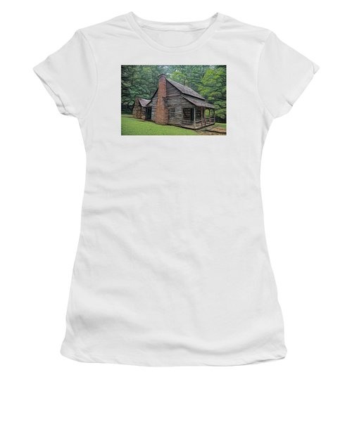 Women's T-Shirt (Athletic Fit) featuring the digital art Cabin In The Woods - Fractals by Ericamaxine Price