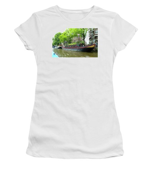 Canal Boats In Amsterdam - 2 Women's T-Shirt