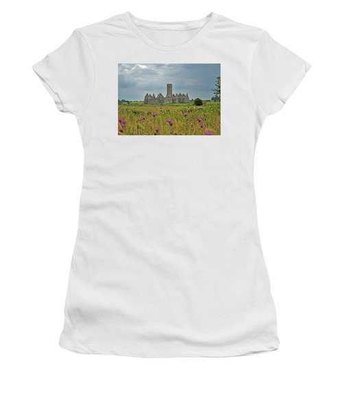 Women's T-Shirt (Athletic Fit) featuring the photograph Castle In The Wildflowers by Mark Duehmig