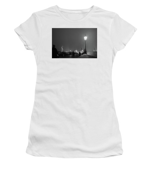 Women's T-Shirt (Athletic Fit) featuring the photograph Charles Bridge At Night by Mark Duehmig