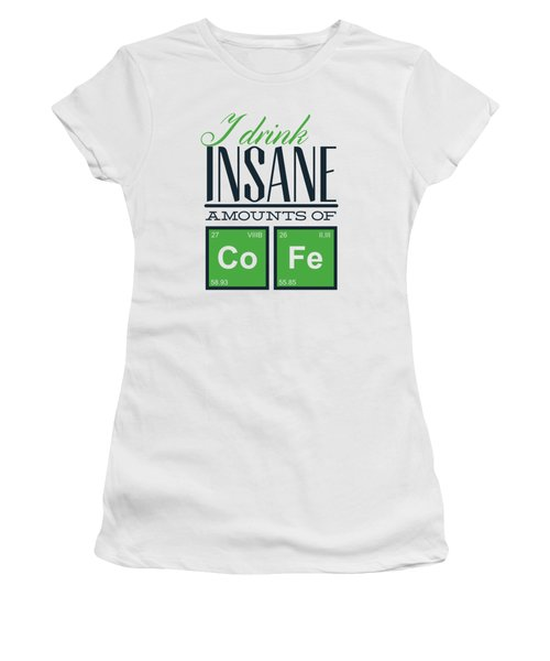 Chemistry Humor Funny Quote I Drink Insane Amounts Of Co Fe Women's T-Shirt