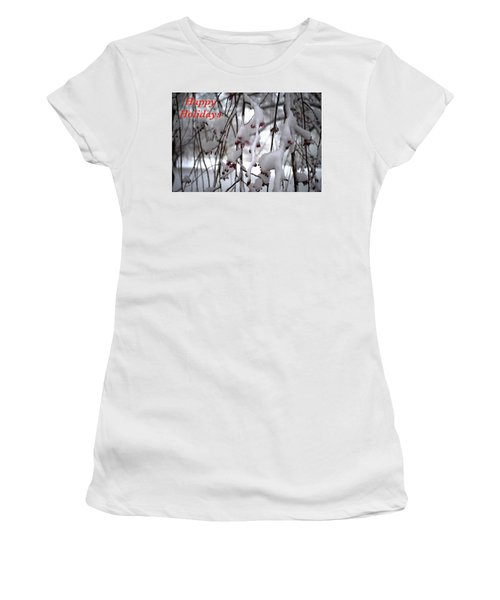 Cherry Blossoms In Snow Women's T-Shirt