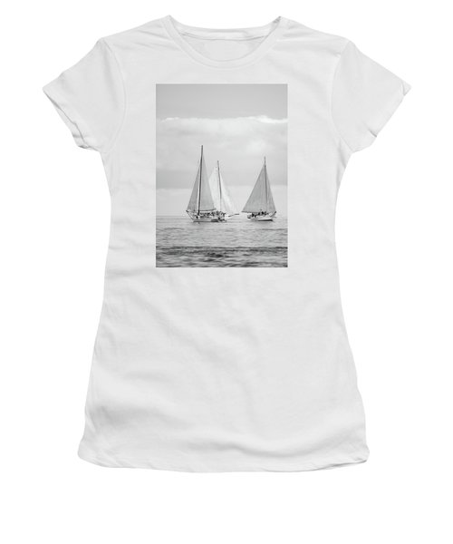 Women's T-Shirt (Athletic Fit) featuring the photograph Chesapeake Bay Skipjacks by Mark Duehmig