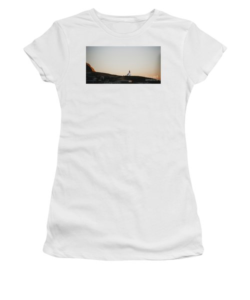 Church On Top Of A Hill And Under A Mountain, With The Moon In The Background. Women's T-Shirt