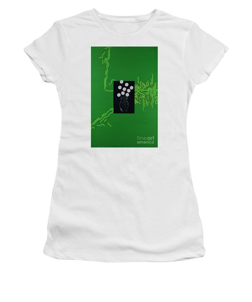 Women's T-Shirt featuring the painting Circuit Board Bouquet by Mary Scott