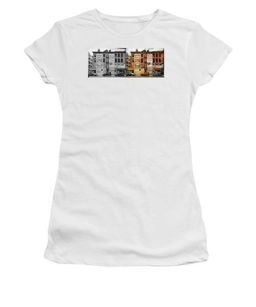 Women's T-Shirt (Athletic Fit) featuring the photograph City - New York Ny - Elite Lunch Bar 1938 - Side By Side by Mike Savad