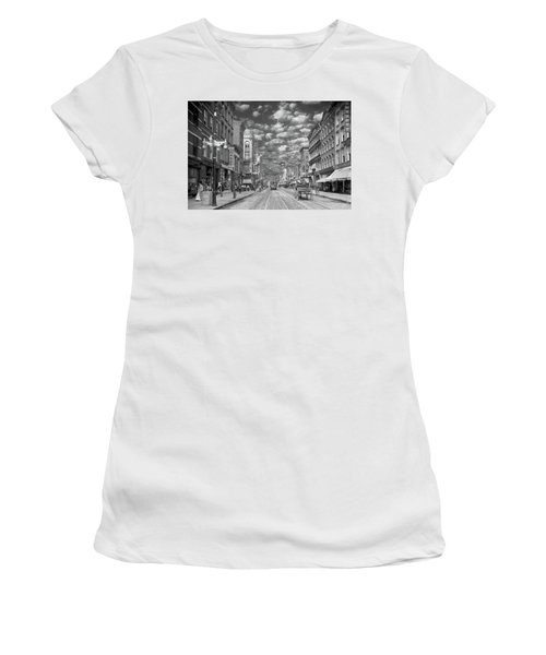 Women's T-Shirt (Athletic Fit) featuring the photograph City - Ny - Main Street Poughkeepsie, Ny - 1906 - Black And White by Mike Savad