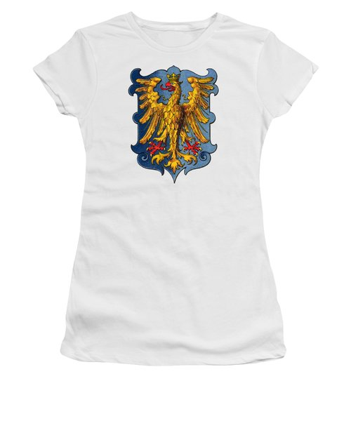 Women's T-Shirt featuring the drawing Coat Of Arms Of Friuli  by Hugo Stroehl