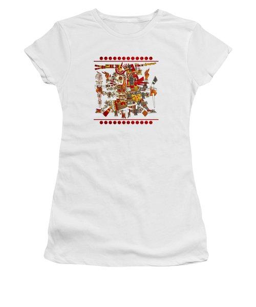Codex Borgia - Aztec Gods - Mictlantecuhtli God Of Death With Quetzalcoatl Wind God On Vellum Women's T-Shirt