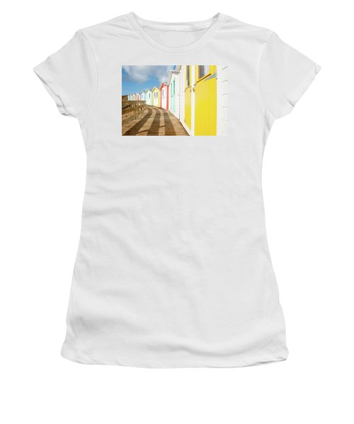Colourful Bude Beach Huts Women's T-Shirt