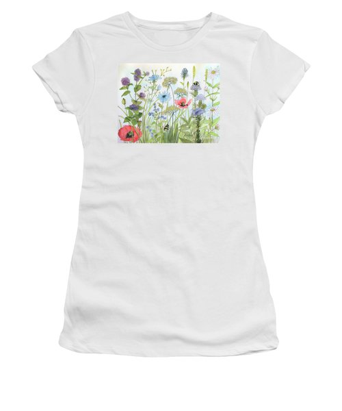 Cottage Flowers And Bees Women's T-Shirt