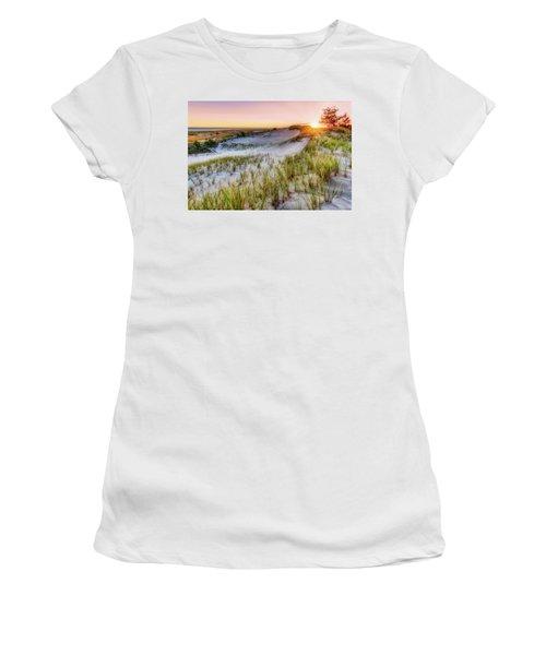 Women's T-Shirt featuring the photograph Crane Beach, Dune Grass Sunrise  by Michael Hubley