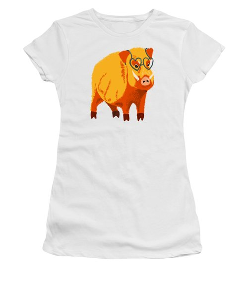 Cute Boar Pig With Glasses  Women's T-Shirt