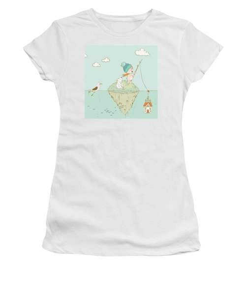 Women's T-Shirt featuring the painting Cute Little Bear Goes Fishing by Matthias Hauser