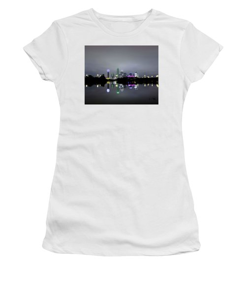 Women's T-Shirt (Athletic Fit) featuring the photograph Dallas Texas Cityscape River Reflection by Robert Bellomy