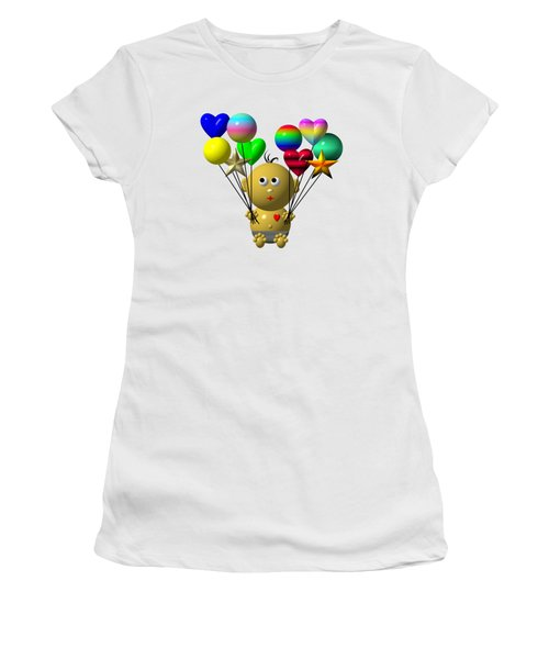Women's T-Shirt featuring the digital art Dark Skinned Bouncing Baby Boy With 10 Balloons by Rose Santuci-Sofranko