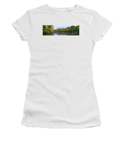 Davidson's Mill Pond Autumn Panorama  Women's T-Shirt