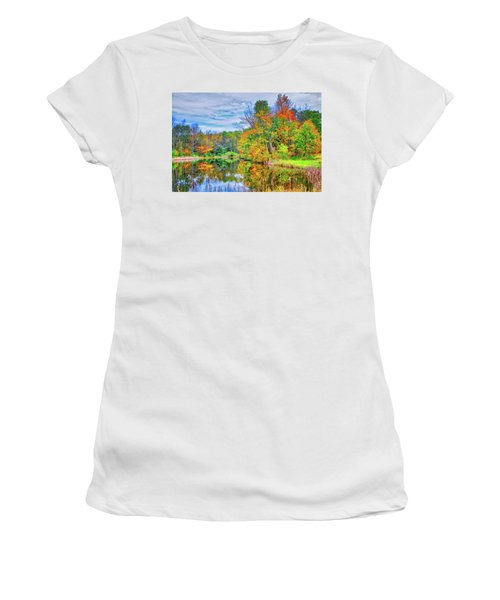 Women's T-Shirt (Athletic Fit) featuring the photograph Dreams Of Fall In The Finger Lakes by Lynn Bauer