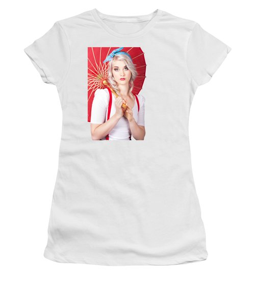 Dreamy Blond Pin Up Woman With Parasol. Old Style Women's T-Shirt