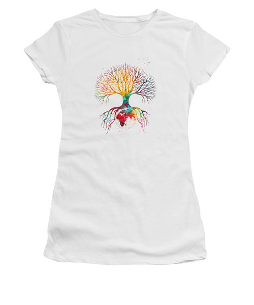 Earth Globe With Tree Women's T-Shirt