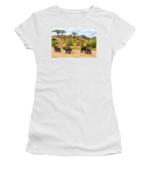 Women's T-Shirt featuring the photograph Elephants Drill For Water by Kay Brewer