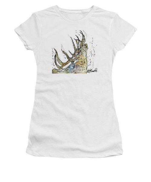 Elk Art Print By Olena Art Women's T-Shirt