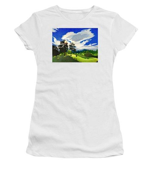 Women's T-Shirt featuring the drawing Elk Ridge Twilight by Dan Miller