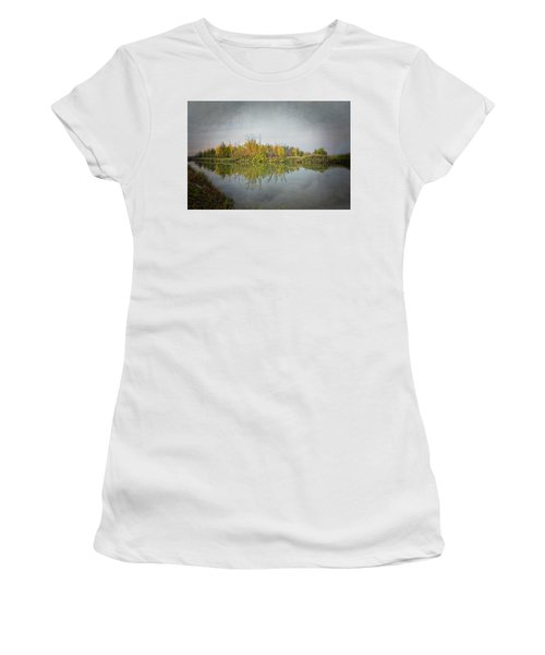 Women's T-Shirt (Athletic Fit) featuring the photograph Ellicott Creek Reflections by Guy Whiteley