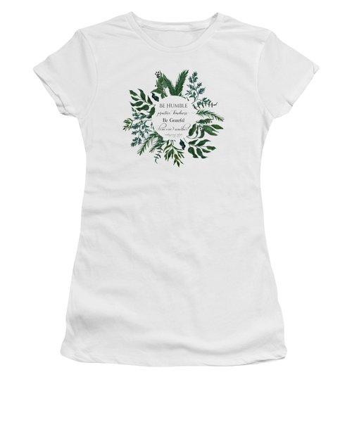 Emerald Wild Forest Foliage Watercolor Women's T-Shirt