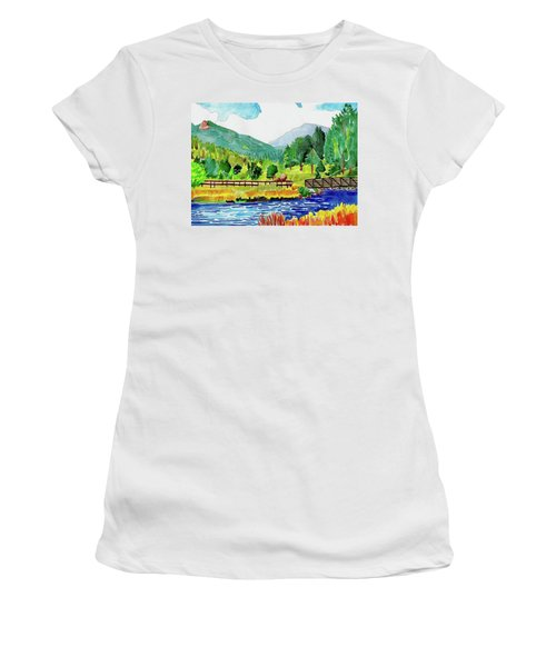 Women's T-Shirt featuring the painting Evergreen Lake Spring Watercolor by Dan Miller