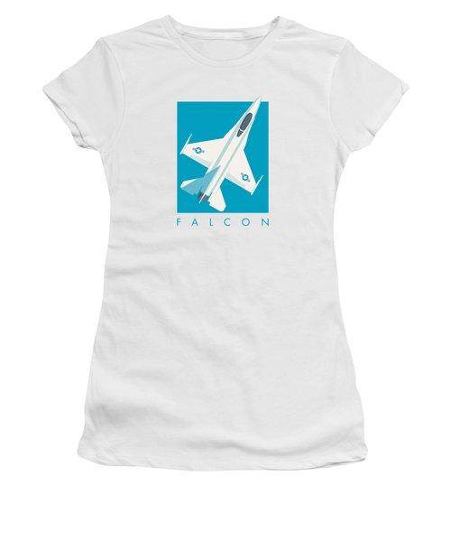 F-16 Falcon Fighter Jet Aircraft - Cyan Women's T-Shirt