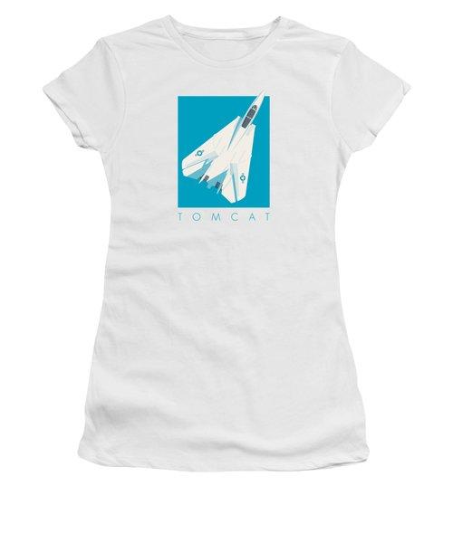 F14 Tomcat Fighter Jet Aircraft - Cyan Women's T-Shirt