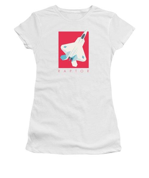 F22 Raptor Jet Fighter Aircraft - Crimson Women's T-Shirt