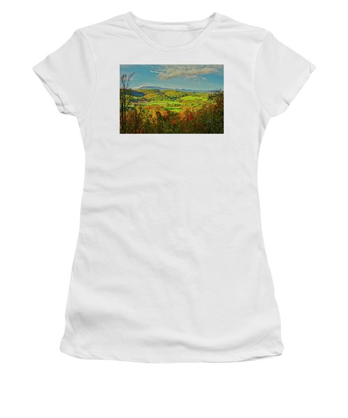 Women's T-Shirt (Athletic Fit) featuring the photograph Fall Porch View by Meta Gatschenberger