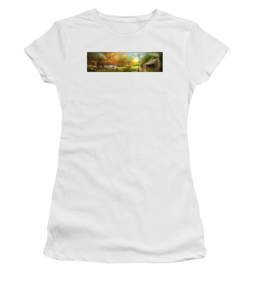 Women's T-Shirt (Athletic Fit) featuring the photograph Farm - End Of A Long Day by Mike Savad - Abbie Shores