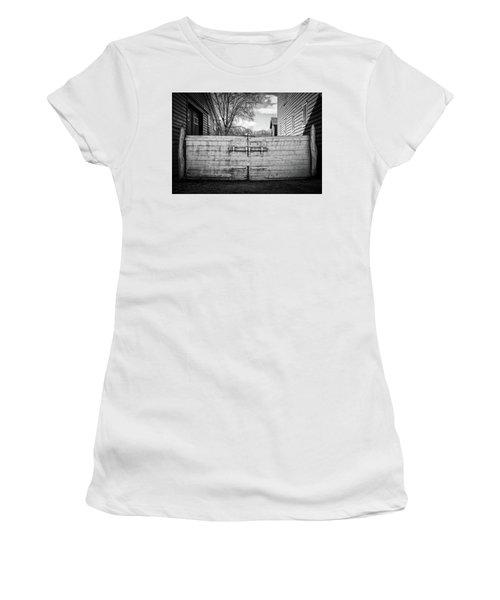 Women's T-Shirt featuring the photograph Farm Gate by Steve Stanger